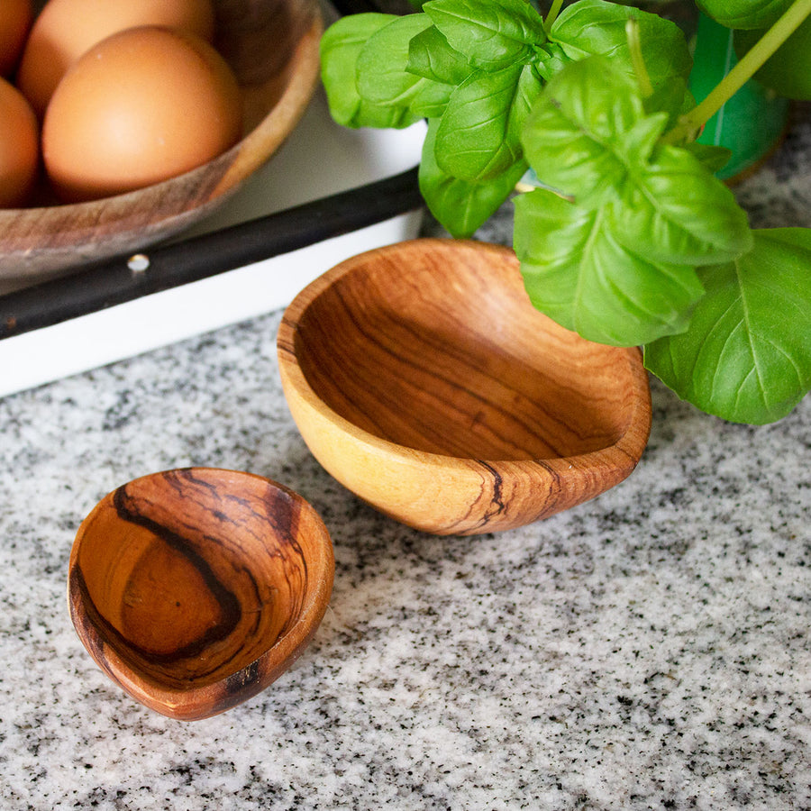 Olive Wood Double Oil Cup Set