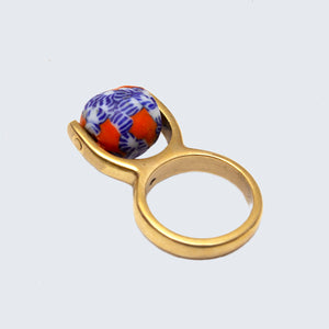 Pendulum Ring 'Orange and Blue Floral'