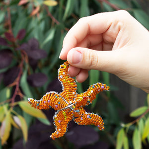 Zimbabwean Beaded Star Fish Decoration 'Orange'