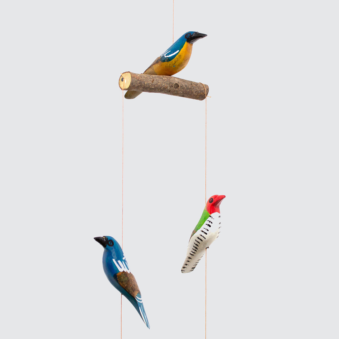 Wood Hanging Birds Mobile 'Painted Colours'