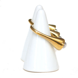 Signature Pearl Open Double Brass & Aluminium Ring