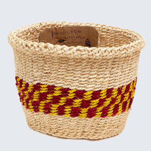 Kenyan Sisal Basket 'Phidildra Yellow, Red & Natural'