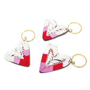 Kenyan Beaded Leather Heart Keyring 'Pink, White & Red'