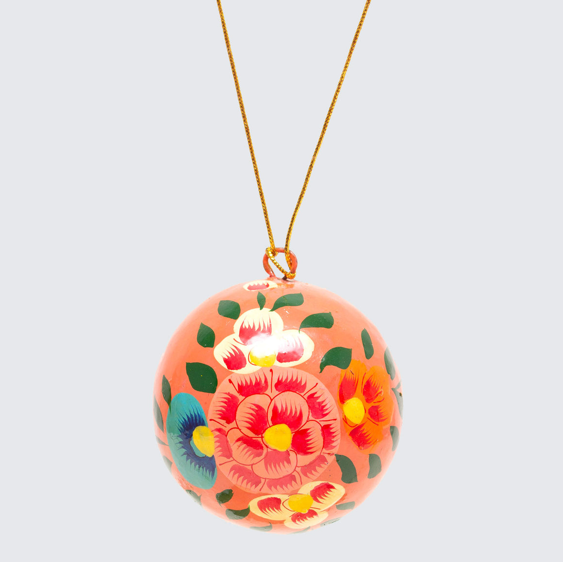 Indian Hand Painted Kashmir Bauble Decoration 'Pink Floral'
