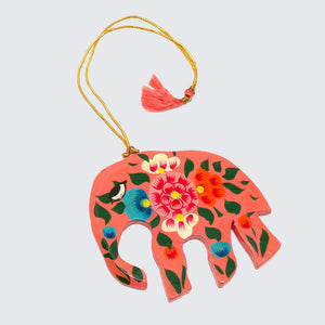 Indian Hand Painted Kashmir Elephant Decoration 'Pink Floral'