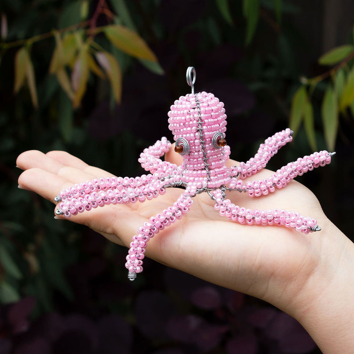 Zimbabwean Beaded Octopus Decoration 'Bubble Pink'