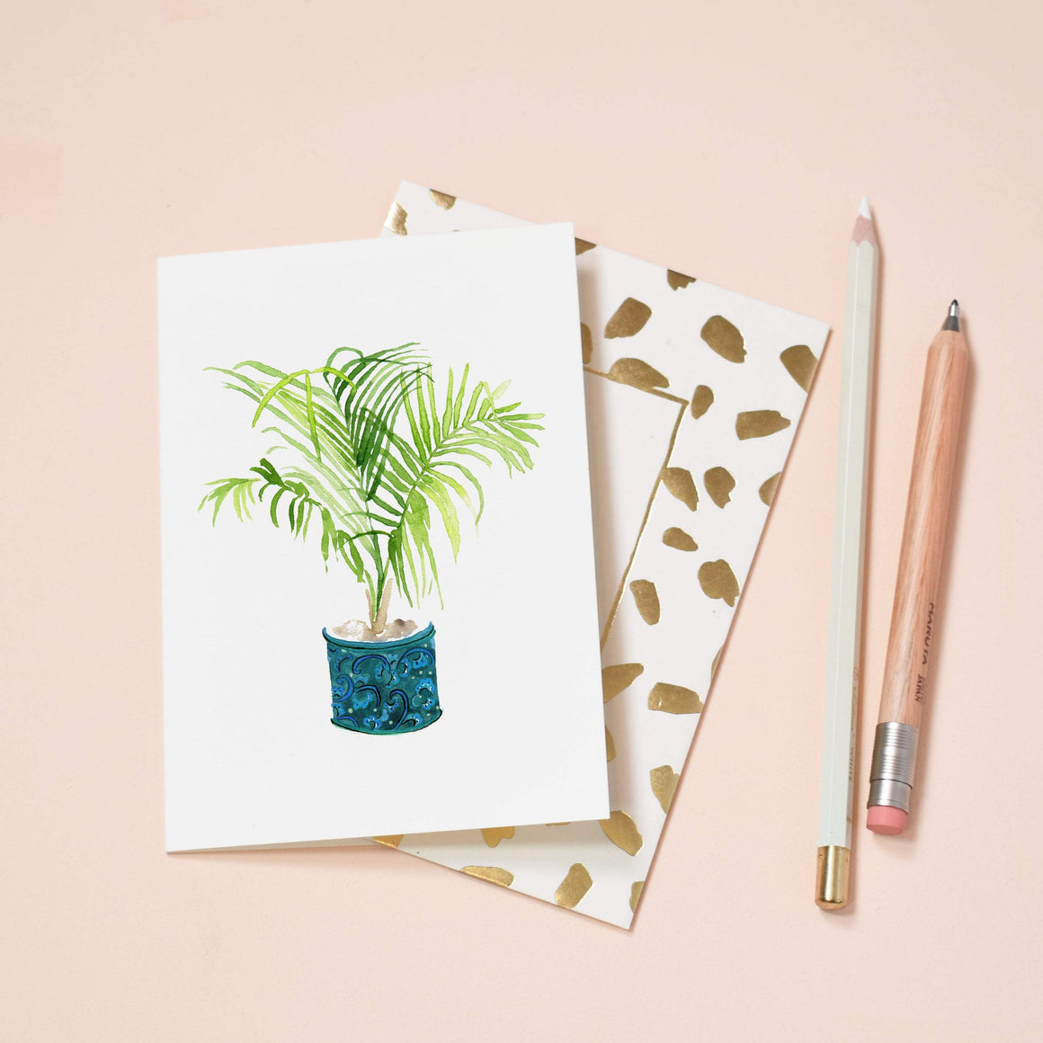 LIZ TEMPERLEY Palm in Blue Plant Pot Notecard