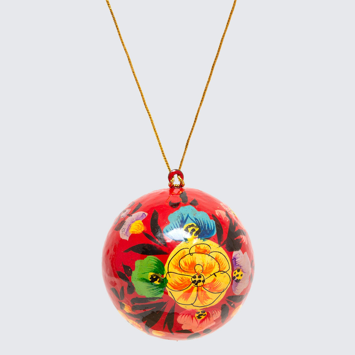 Indian Hand Painted Kashmir Bauble Decoration 'Red Floral'