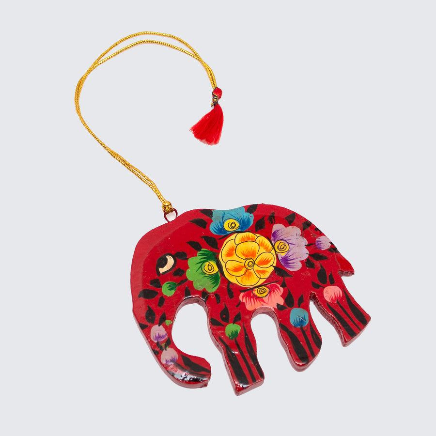 Indian Hand Painted Kashmir Elephant Decoration 'Red Floral'