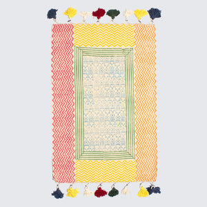 Indian Colourful Reversible Block Printed Rug '4x6'