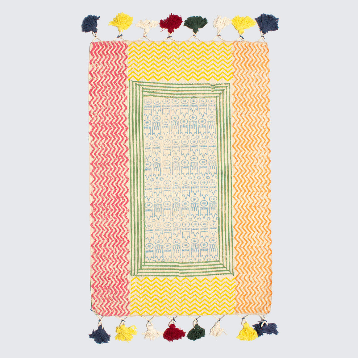 Indian Colourful Reversible Block Printed Rug '2x3'