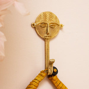 Ghanaian Ashanti Brass Hook 'Round Face Mask'