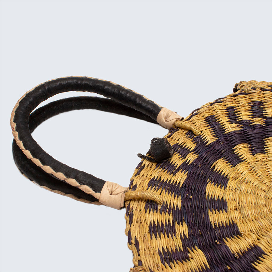 Ghanaian Bolga Circular Basket With Leather Handles 'Black and Natural'