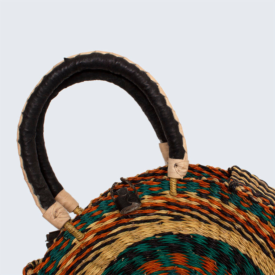 Ghanaian Bolga Circular Basket With Leather Handles 'Teal and Orange'