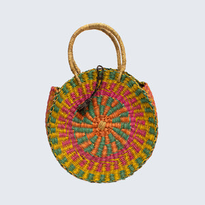 Ghanaian Bolga Circular Basket With Leather Handles 'Green and Pink'