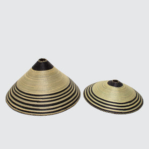 Rwandan Hand Woven Cone Light Shade 'Small Classic Stripes'