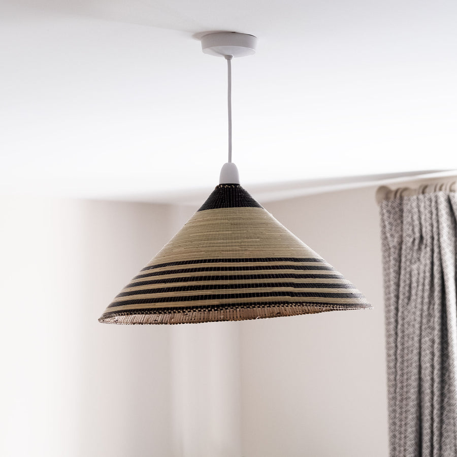 Rwandan Hand Woven Cone Light Shade 'Large Classic Stripes'
