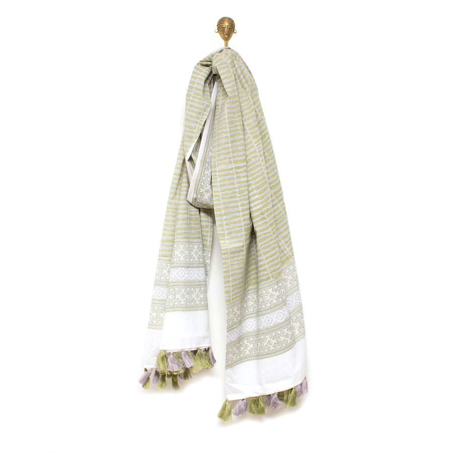 Indian Block Printed Cotton Tassel Scarf/Cloth 'Sage Green Floral'