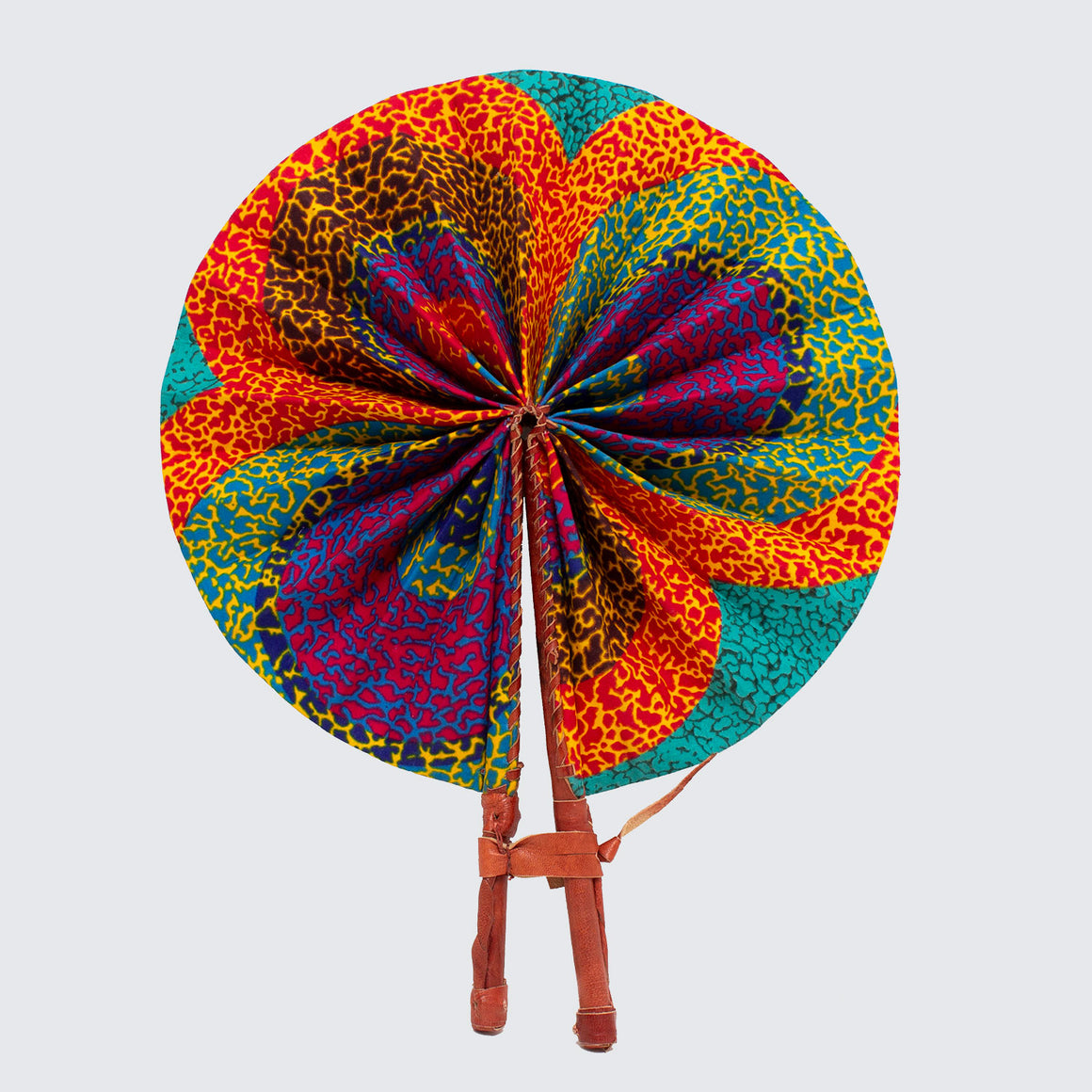 Ghanaian Wax Cotton & Leather Fan 'Rainbow Salt Lake'