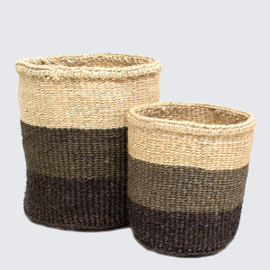 Kenyan Sisal Set Of 2 Baskets 'Grey Colour Block'