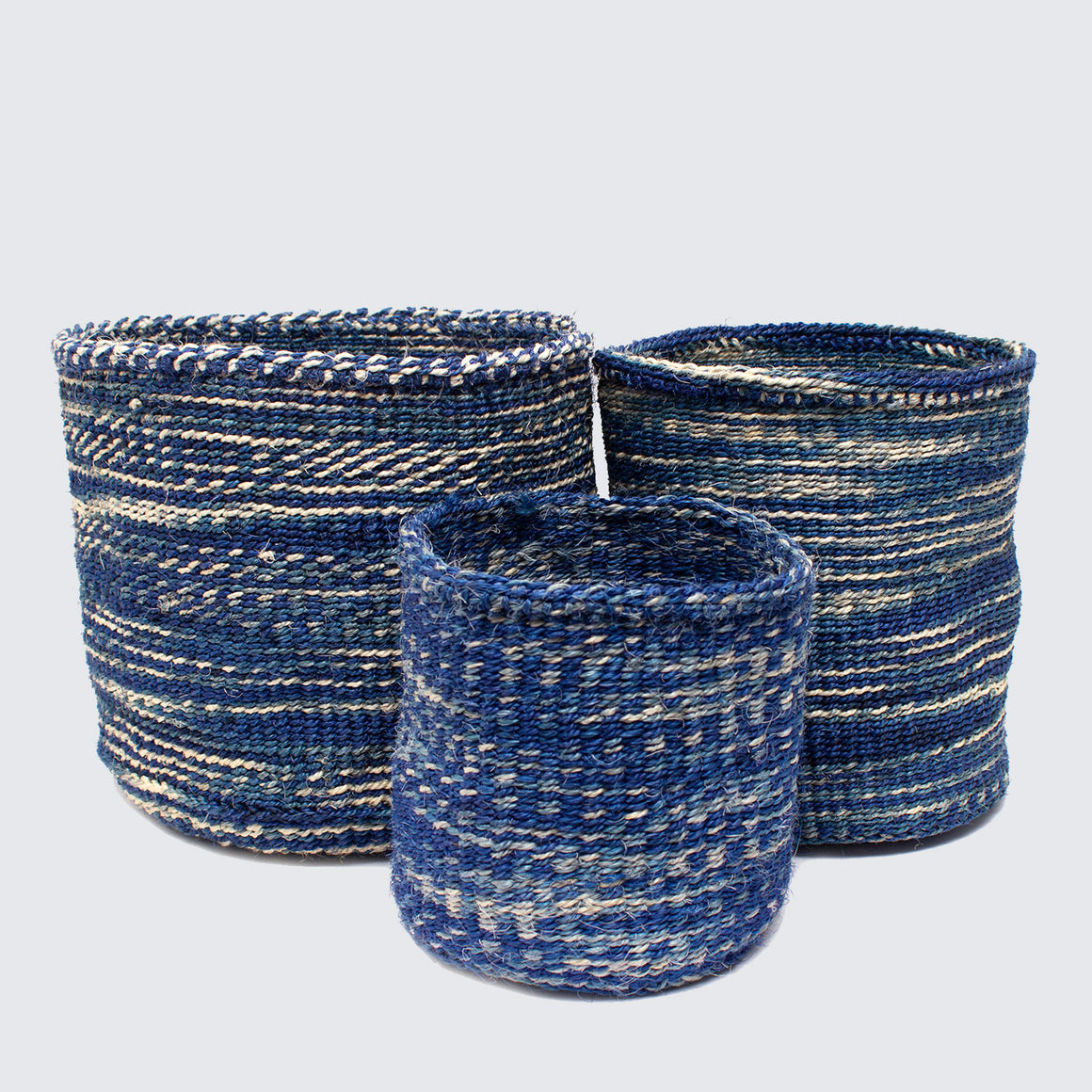 Kenyan Woven Set Of 3 Baskets 'Blue Marl'