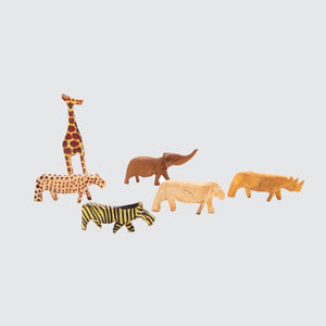 Set Of Small Hand Carved Wooden Animals