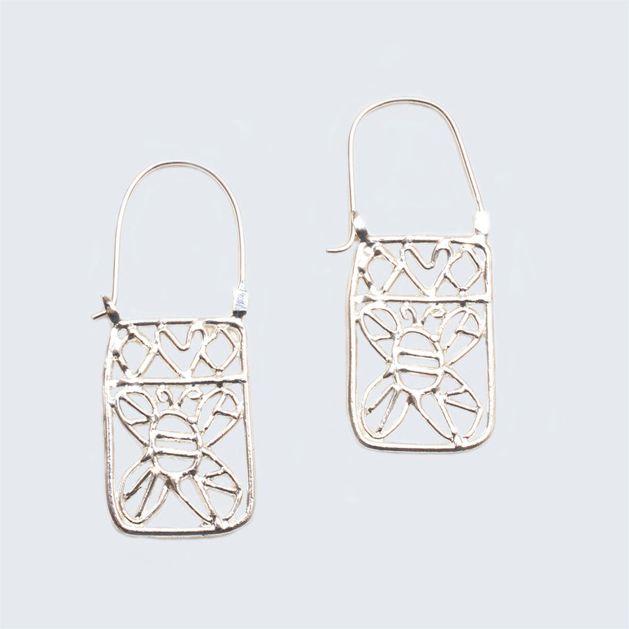 Honey Bee Silver Lace Hook Earrings