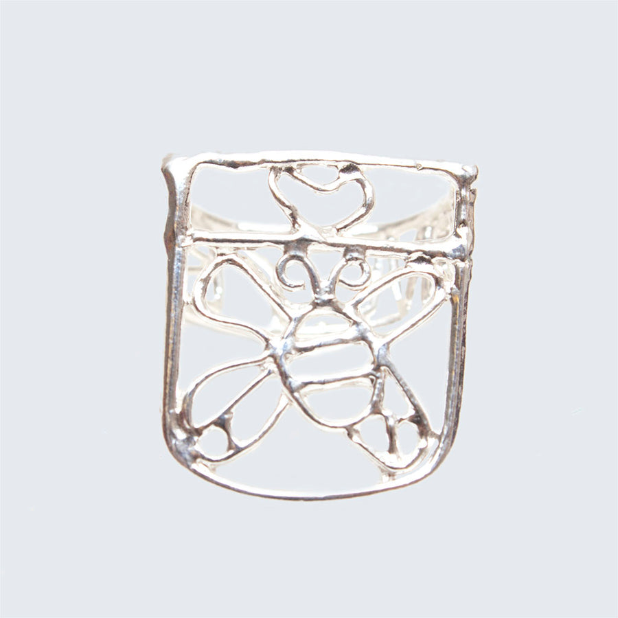 Honey Bee Silver Lace Ring