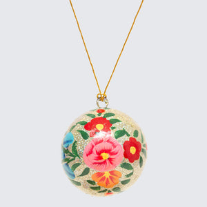 Indian Hand Painted Kashmir Bauble Decoration 'Silver Glitter'