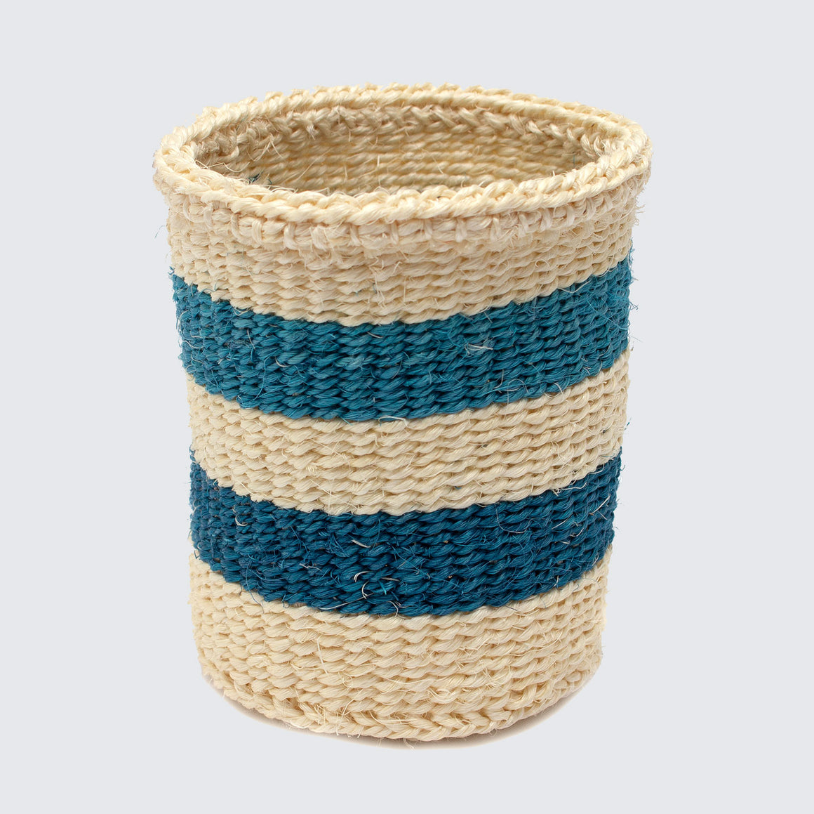 Kenyan Woven Basket 'Small Blue & Natural Stripes'