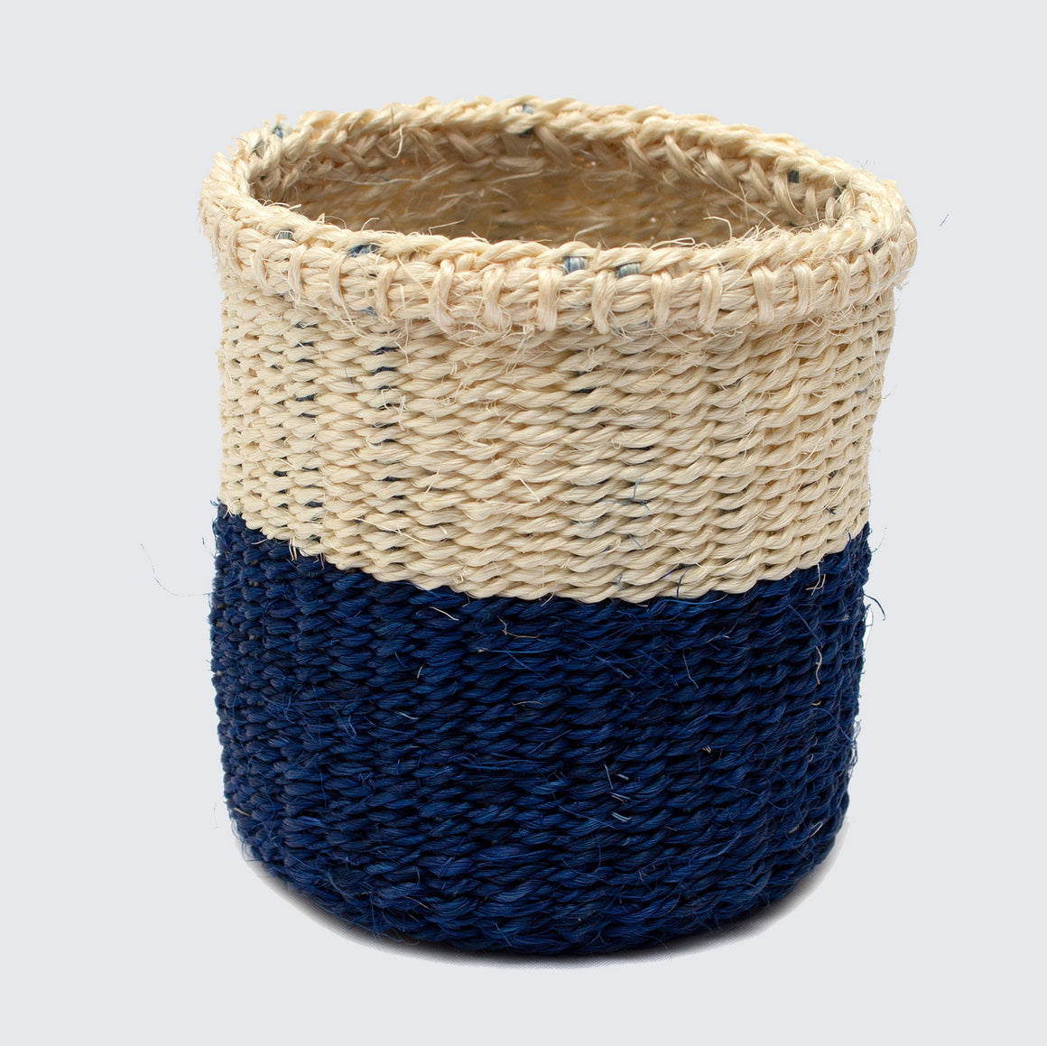 Kenyan Woven Basket 'Small Dipped Royal Blue & Natural'