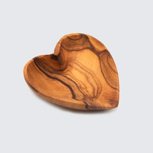 Olive Wood Small Heart Salt & Spice Dish