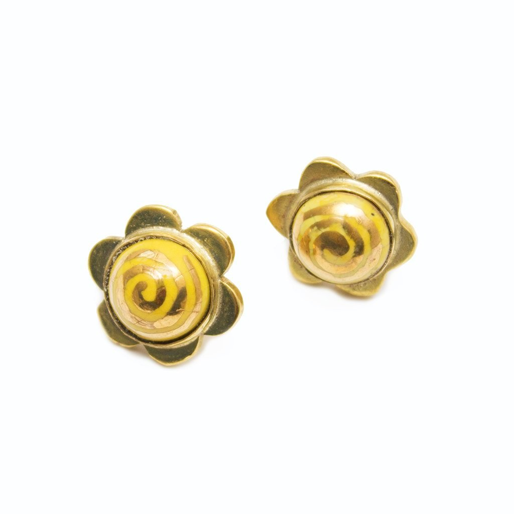 Artisans & Adventurers Solstice Stud Earrings - gold-toned recycled brass earrings