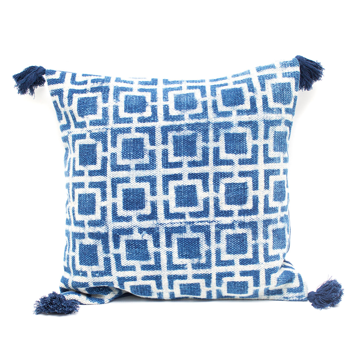 Indian Indigo Block Printed 45cm x 45cm Cushion Cover 'Squares'