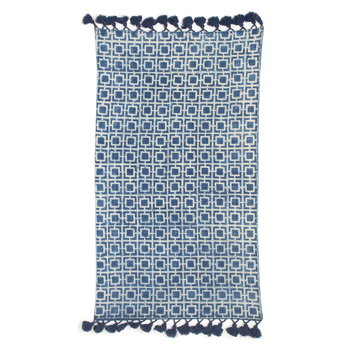 Indian Indigo standard sized 3 by 5 feet long block printed, handwoven naturally plant dyed rug 'Squares'