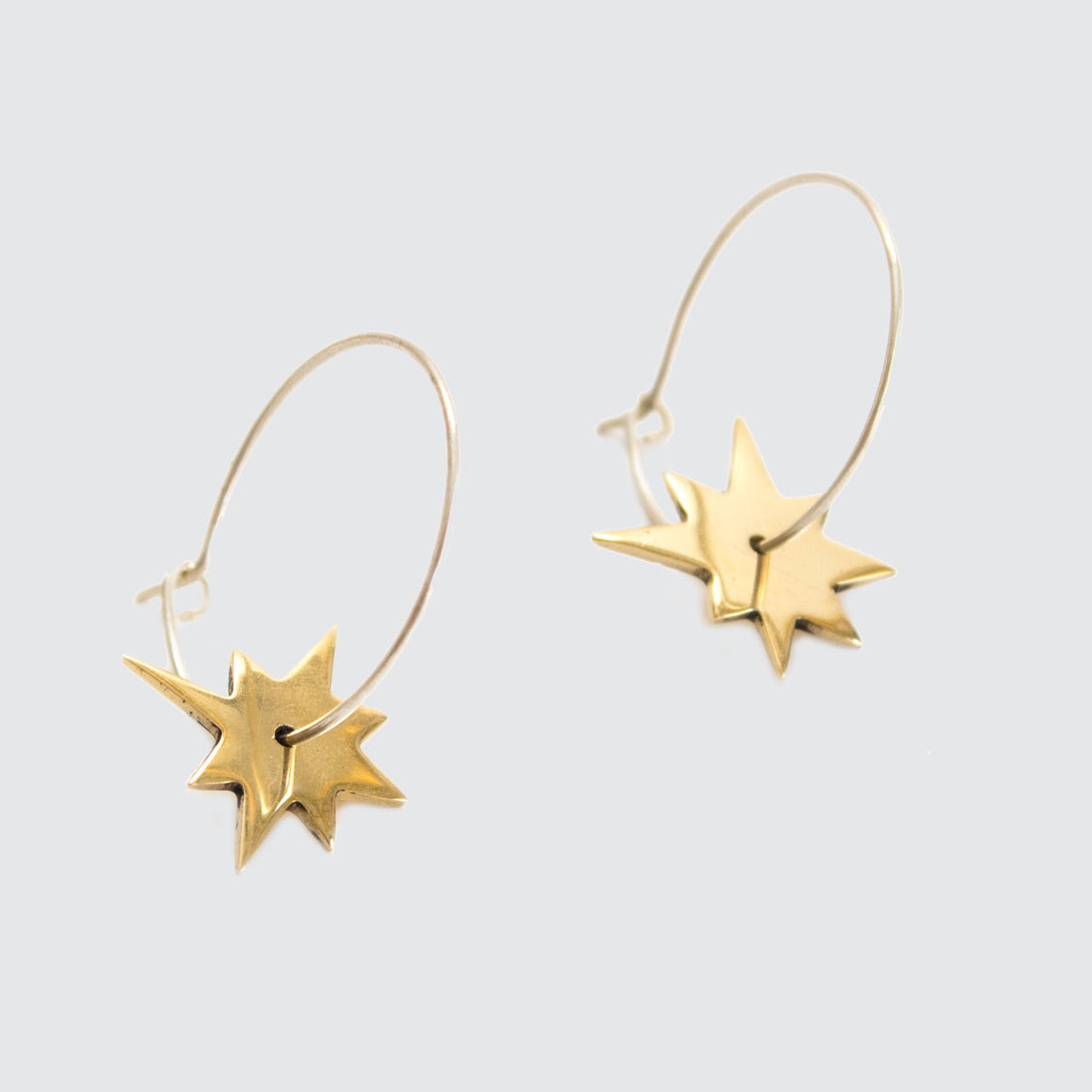 Star Small Charm Hoop Earrings