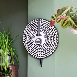 Ghanaian Hand Carved Wooden Sun Mask 'Black & White'