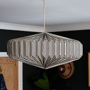 Indian Recycled Paper Saucer Light Shade 'Black & White Stripes'