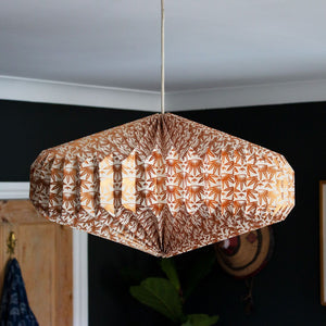 Indian Recycled Paper Saucer Light Shade 'Bronze Palms'