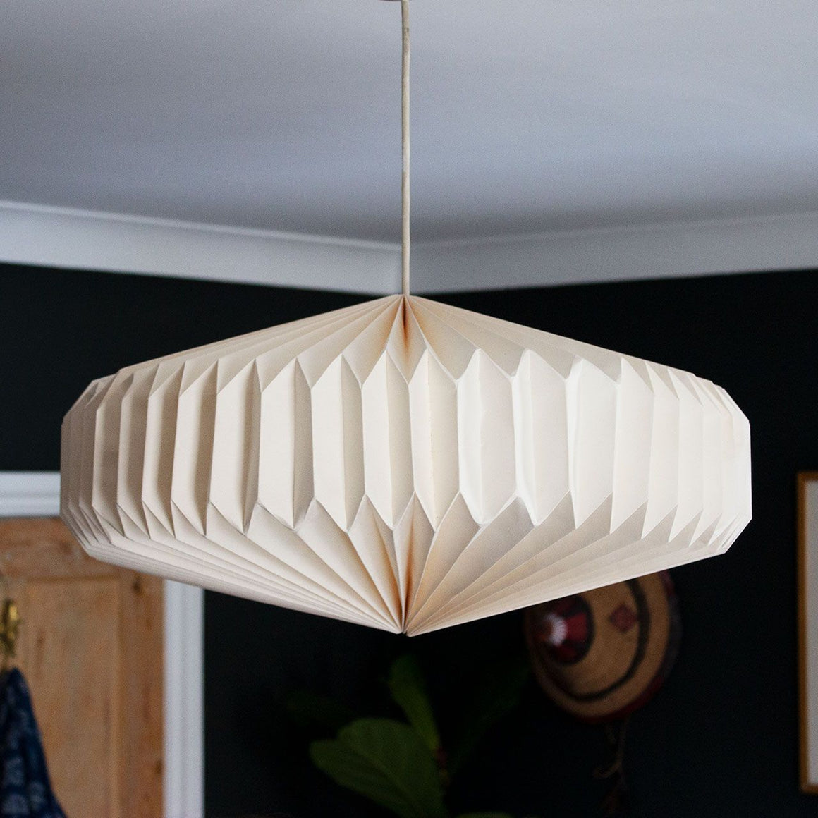 Indian Recycled Paper Saucer Light Shade 'Natural Calico'