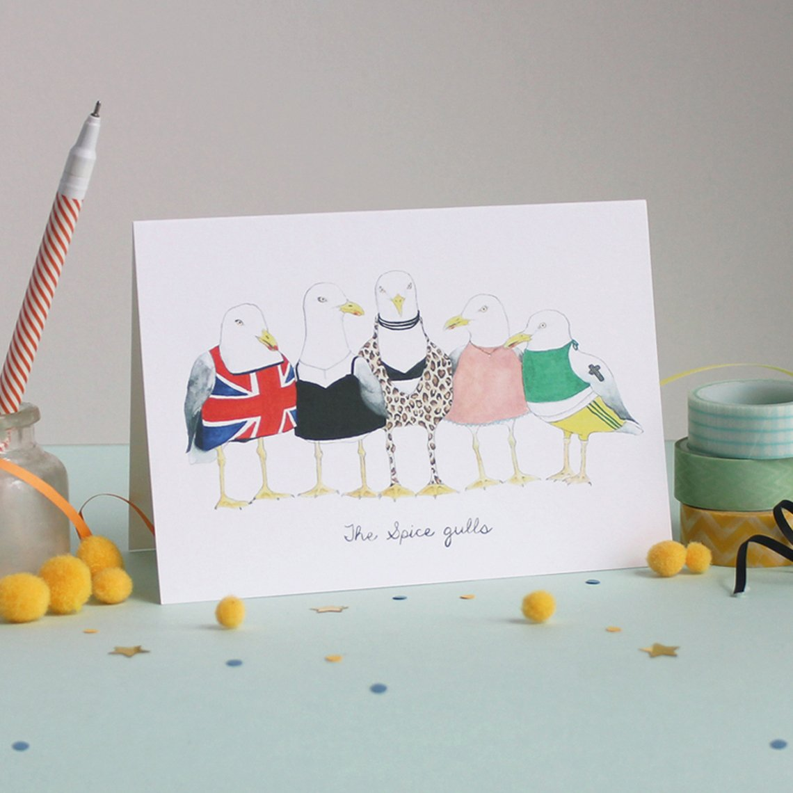 Mister Peebles Greeting Card 'Spice Gulls'