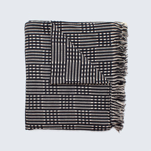 Tanzanian Table Cloth 'Black Grid'