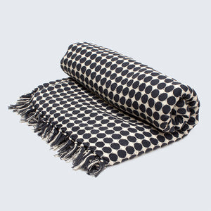 Tanzanian Hand woven Throw 'Black Circles on White'