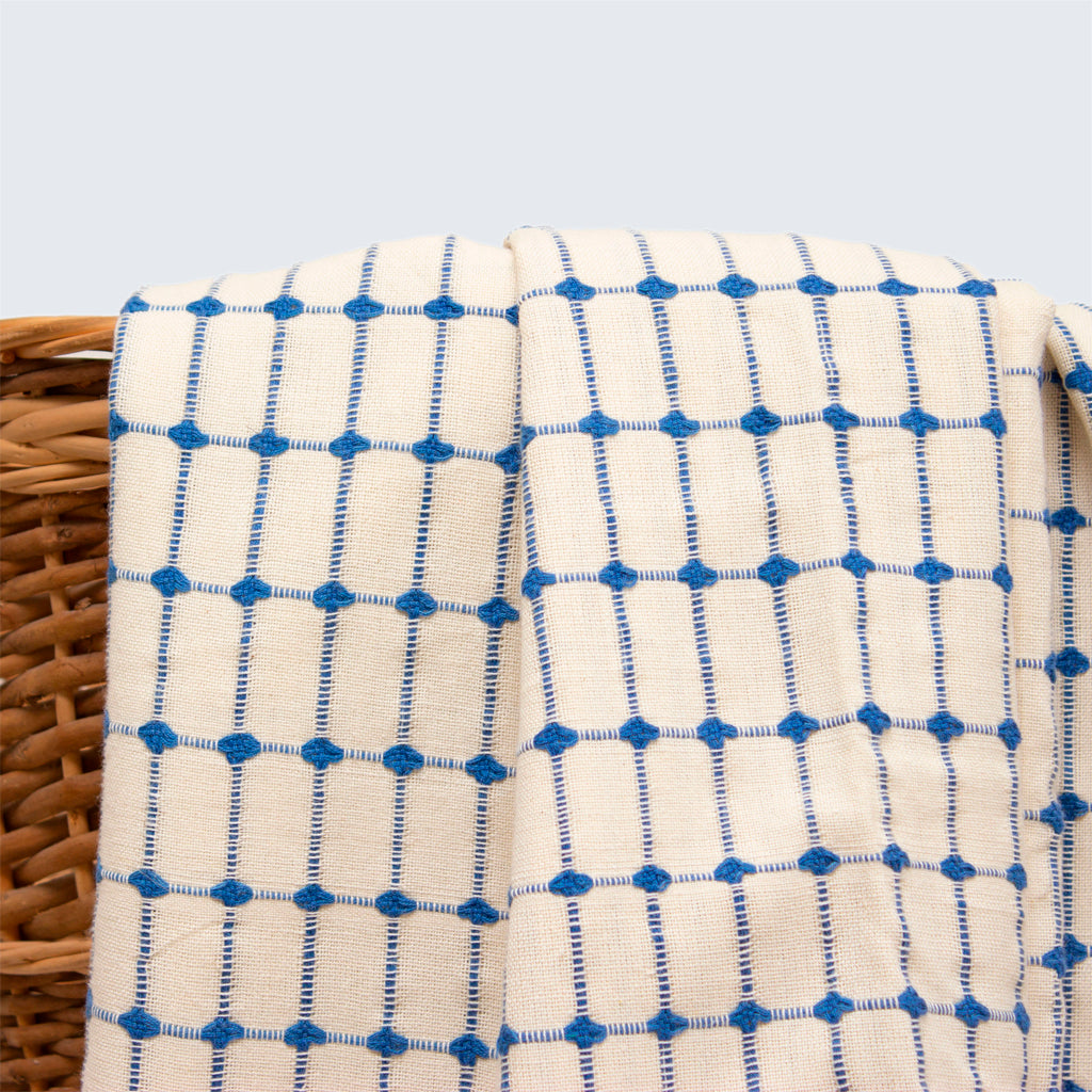Tanzanian Table Cloth 'Natural With Blue Check'