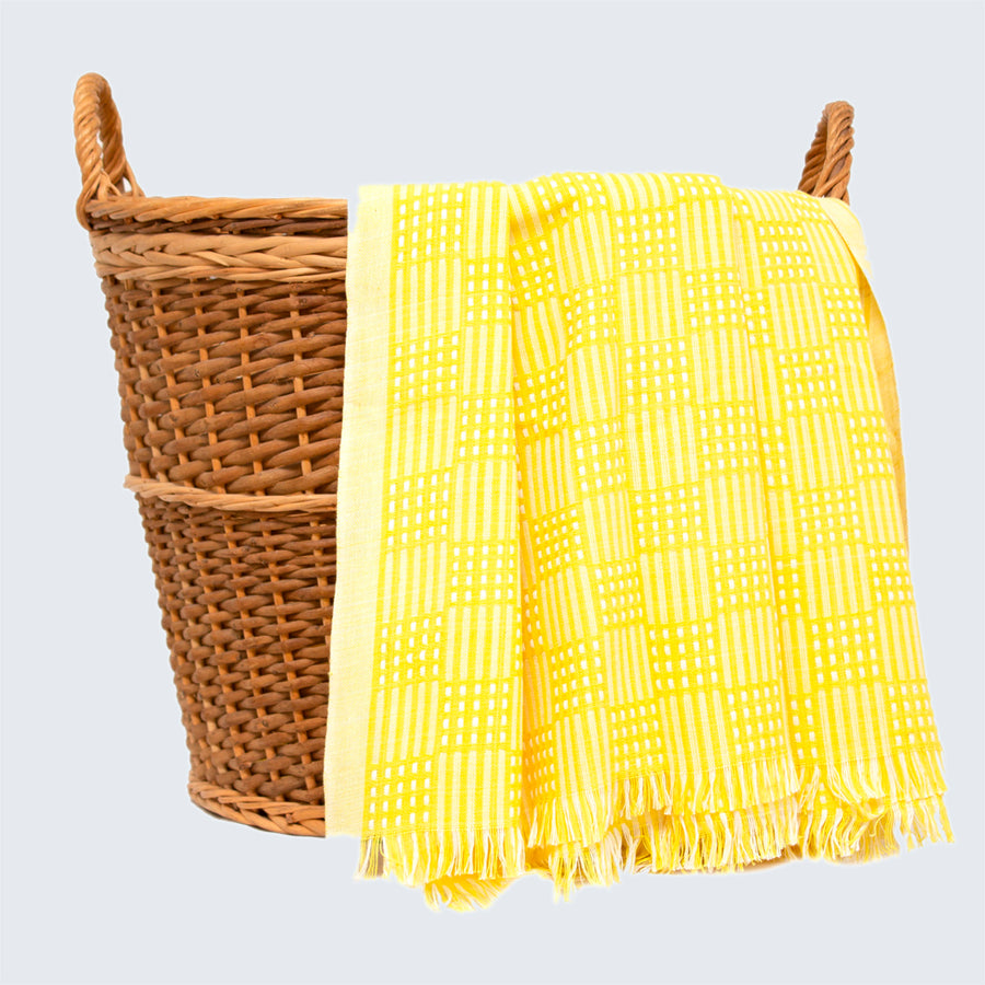 Tanzanian Table Cloth 'Yellow Grid'