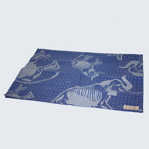 African Screen Printed Tea Towel 'Blue Elephant Skeleton'