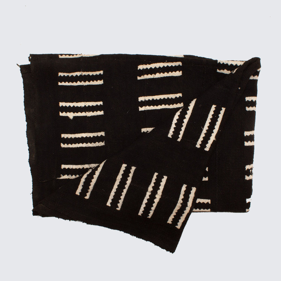 West African Bògòlanfini Mud Cloth 'Black & White Teeth'