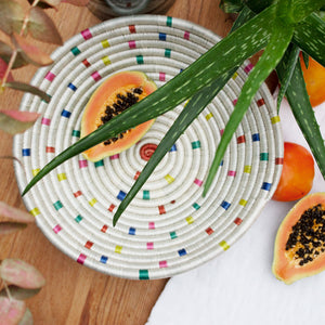white, speckled flecked rainbow wall decoration from natural, fair trade brand Artisans & Adventurers