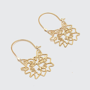 Tiger Line Earrings Brass