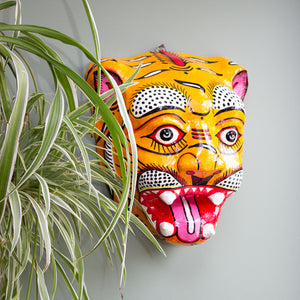 Indian Paper Maché Tiger Mask 'Orange'